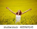 young beautiful girl in yellow... | Shutterstock . vector #405969145