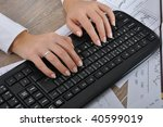 Woman Hand Typing On Computer...