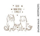 postcard with cute monsters... | Shutterstock .eps vector #405996391