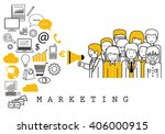marketing team on white... | Shutterstock .eps vector #406000915