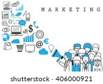 marketing team on white... | Shutterstock .eps vector #406000921