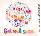 get well soon greeting card | Shutterstock . vector #406001341