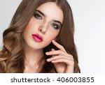closeup portrait of young... | Shutterstock . vector #406003855