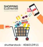 shopping illustrations | Shutterstock .eps vector #406013911