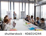 business man talking about... | Shutterstock . vector #406014244