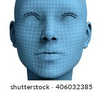 Woman Face In Wireframe Lines...