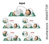 muslim prayer position guide... | Shutterstock .eps vector #406047739