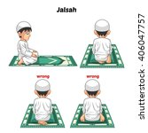 muslim prayer position guide... | Shutterstock .eps vector #406047757