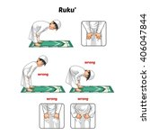 muslim prayer position guide... | Shutterstock .eps vector #406047844