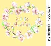 cherry  apple  flowers....   Shutterstock . vector #406051969