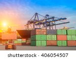cargo ship loading containers... | Shutterstock . vector #406054507
