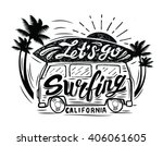 vector black surfing badge.... | Shutterstock .eps vector #406061605