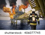 fire fighter on oil and gas... | Shutterstock . vector #406077745