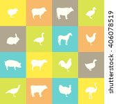 farm animal silhouettes. vector ... | Shutterstock .eps vector #406078519