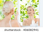 beauty  skin care and people... | Shutterstock . vector #406082941