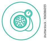 pressure gauge tyre  line icon. | Shutterstock .eps vector #406086055