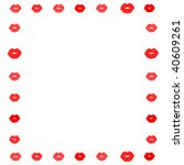 illustrated border of lips in a ... | Shutterstock . vector #40609261