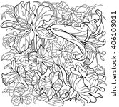 floral coloring page. narcissus ... | Shutterstock .eps vector #406103011