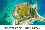 aerial view of fort jefferson...   Shutterstock . vector #406113979
