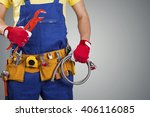 plumber with tool belt isolated ... | Shutterstock . vector #406116085