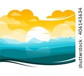 colorful silhouette landscape... | Shutterstock .eps vector #406143634