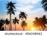 silhouettes of palm trees... | Shutterstock . vector #406148461