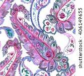 watercolor paisley seamless... | Shutterstock .eps vector #406149655