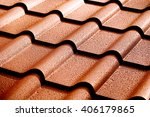 metallic roof with drops of... | Shutterstock . vector #406179865