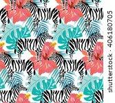 zebras  pink hibiscus flowers... | Shutterstock .eps vector #406180705