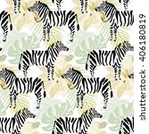 zebras  hibiscus flowers and... | Shutterstock .eps vector #406180819