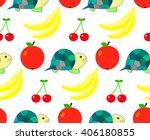 pattern tortoise and fruit ... | Shutterstock .eps vector #406180855