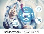 autonomous self driving car... | Shutterstock . vector #406189771