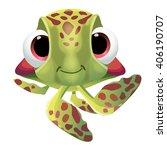 Fun Cute Cartoon Sea Turtle...