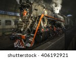 steam locomotive at the kiev... | Shutterstock . vector #406192921