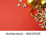 XXXL size \ christmas holiday red background with golden snowflake, stars and baubles \ - stock photo