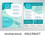 monitor icon on vector brochure.... | Shutterstock .eps vector #406198657