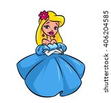 girl blonde blue dress cartoon... | Shutterstock . vector #406204585