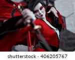 japan female warrior   kabuki   ... | Shutterstock . vector #406205767