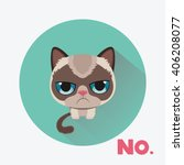 cute sad grumpy cat in material ... | Shutterstock .eps vector #406208077