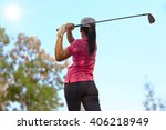 women player golf swing shot on ...   Shutterstock . vector #406218949