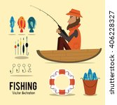 fishing graphic design | Shutterstock .eps vector #406228327