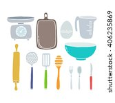 doodle icons. kitchen... | Shutterstock .eps vector #406235869