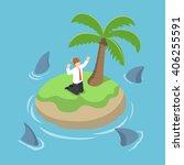 isometric businessman stranded... | Shutterstock .eps vector #406255591