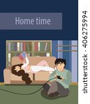 couple resting at home. girl... | Shutterstock .eps vector #406275994