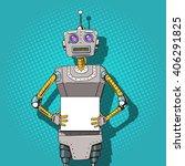 robot with ads  pop art style... | Shutterstock . vector #406291825