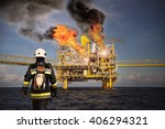 fire fighter on oil and gas... | Shutterstock . vector #406294321