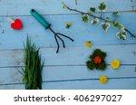garden tools with flowers   Shutterstock . vector #406297027