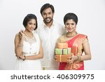happy south indian traditional...   Shutterstock . vector #406309975