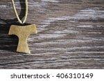 wooden tau pendant | Shutterstock . vector #406310149