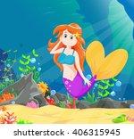 beautiful mermaid swimming... | Shutterstock .eps vector #406315945